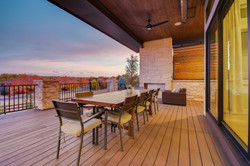 Rear deck with fireplace