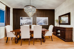 Dining room with large chandelier