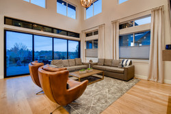 Great room with double height ceiling.