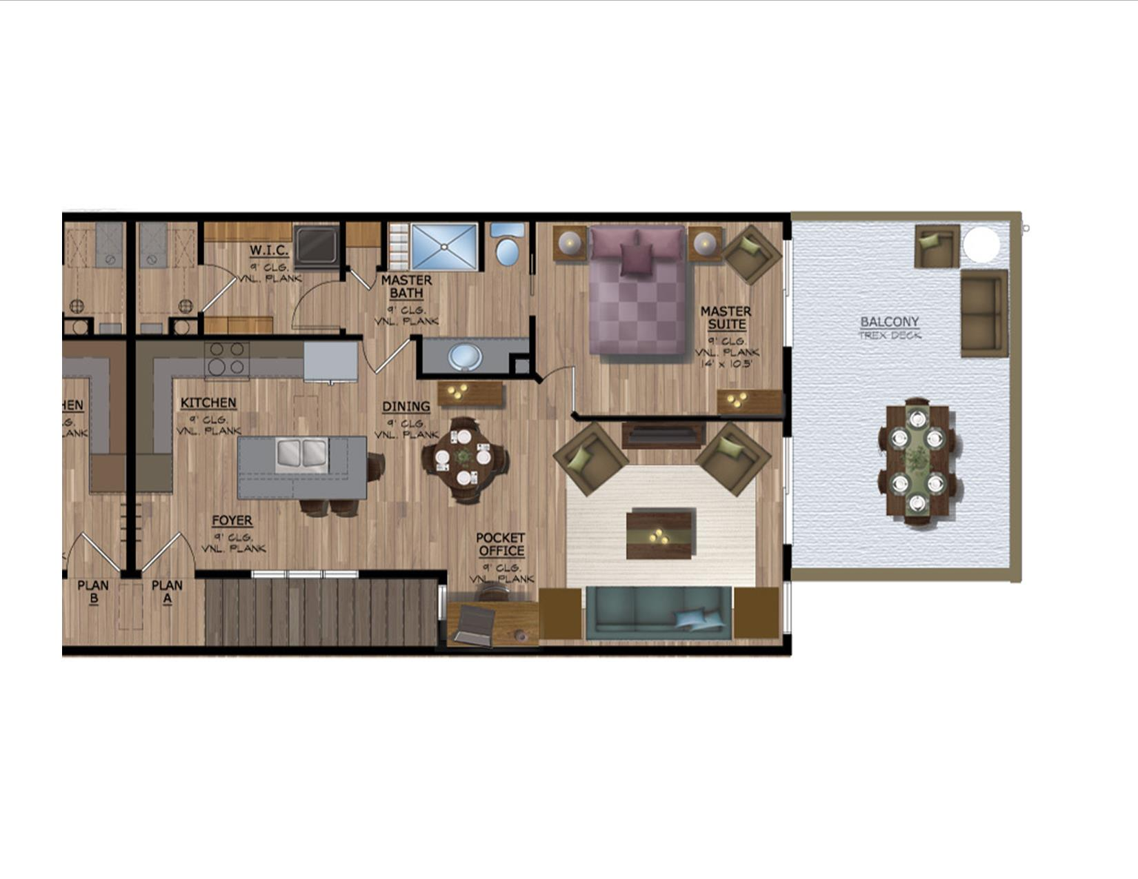Unit A rendered floorplan