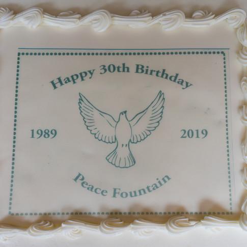 Peace Fountain 30th Birthday Cake