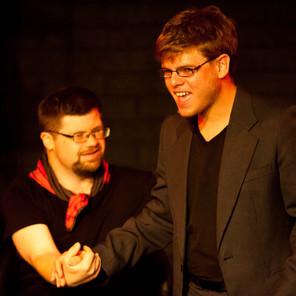 Image Description: David and Michel hsaking hands during Look Mum...