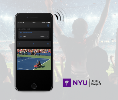 People are in the football stadium and look excited with a application screenshot and a logo of NYU Ability Project.
