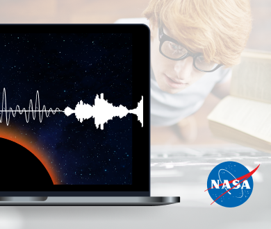 A young boy is studying with a black board, and a desktop screen shows a solor eclipse and sound waves with the logo of NASA.