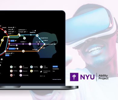 A guy wears a VR headset, and desktop screen shows a subway map.