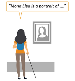 A girl is standing in front of a paiting and listening to an audio desction on her app.