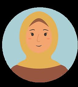 Huda is wearing a yellow scarf.