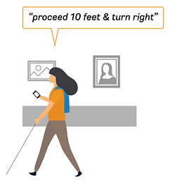 A girl is walking in a museum and receiving turn-by-turn navigation from an app.