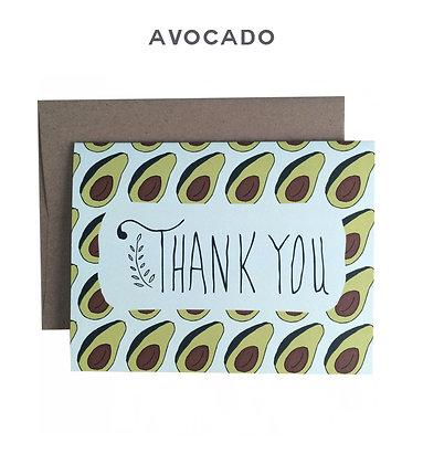 avocado thank you card - single card