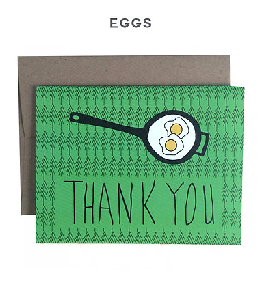 eggs in a skillet - single card