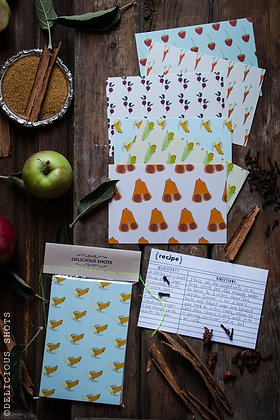 illustrated recipe cards - set of 12