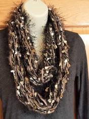 Fuzzy brown pom pom infinity scarf (2).j