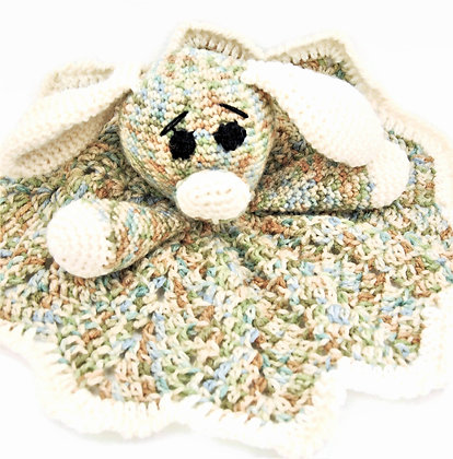 Crochet stuffed dog lovey blanket