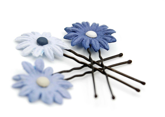 Light blue paper flower hair pin, decorative hair pin