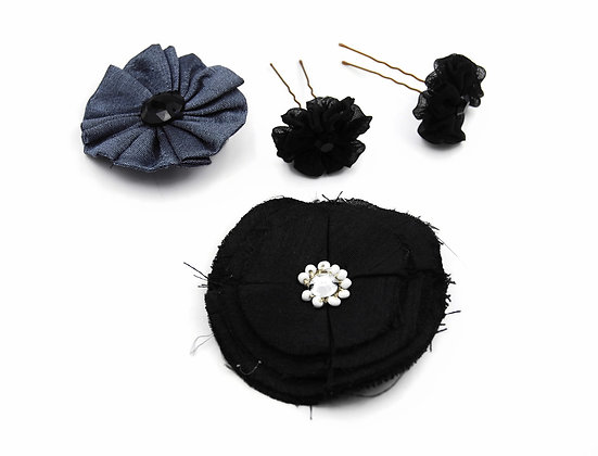 Black and grey floral hair pin set