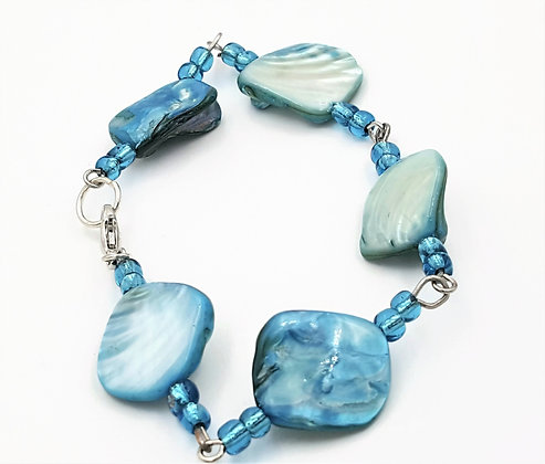 Blue Abalone Shell Bead Bracelet