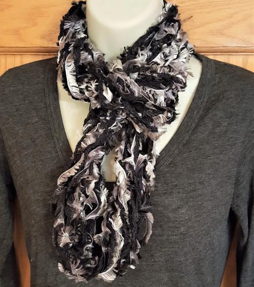 Black And White Infinity Knit Scarf Black White Grey Arm Knit Scarf
