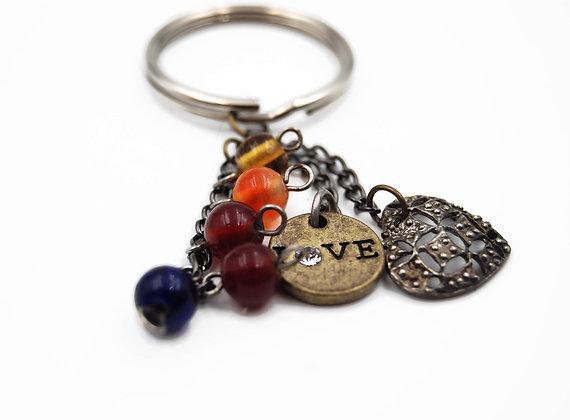 Filigree heart charm key chain