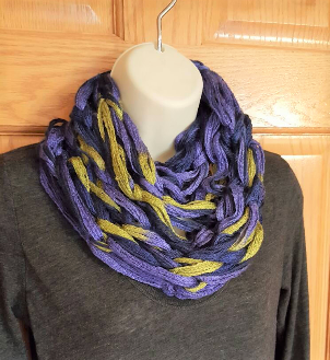 Blue and green braided cowl