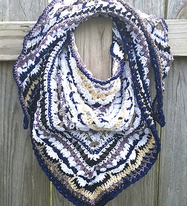 Women's blue and white wrap shawl