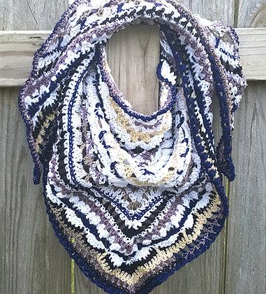Women's blue and white wrap shawl