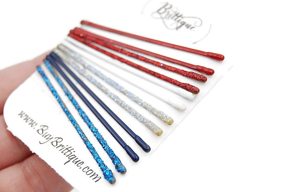 Red, white and blue bobby pins