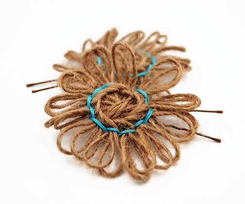 SET OF 2 Rustic flower hair pins, Jute flower hair pins