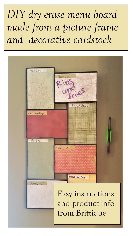 Dry erase menu board