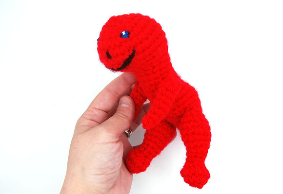 Red dinosaur stuffy, red crochet dino plush