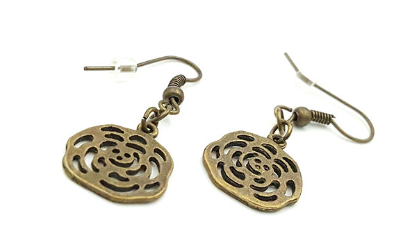Bronze floral drop earrings