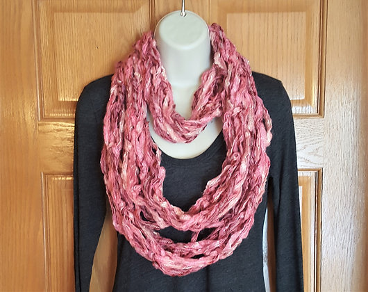 Pink and white knit infinity scarf