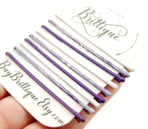 Purple and White Crackle Bobby Pins