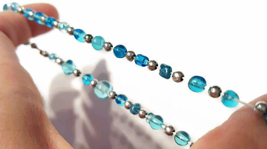 Eclectic Stretchy Blue Bead Bracelet