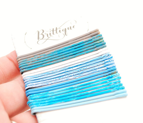 Blue and Grey Crackle Bobby Pins