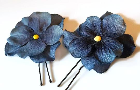 Blue hydrangea hair pin, navy blue flower girl hair pin