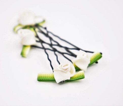 Cream Floral Hair Pins