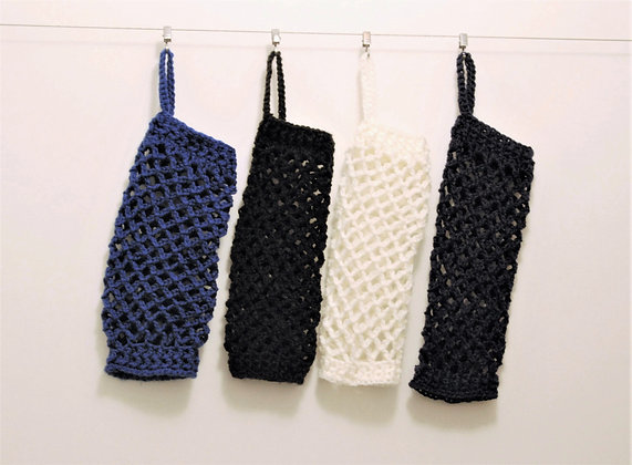 Crochet plastic bag holder