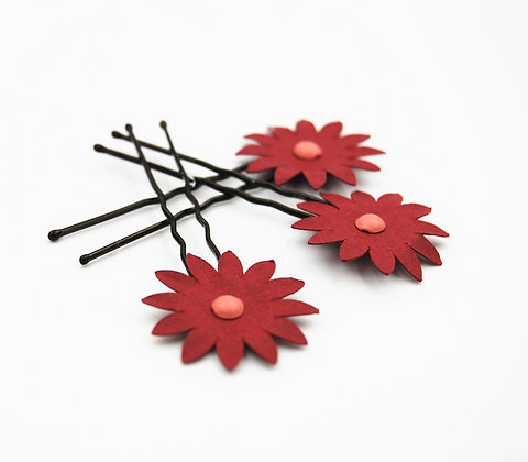 burgundy paper flower hair pins