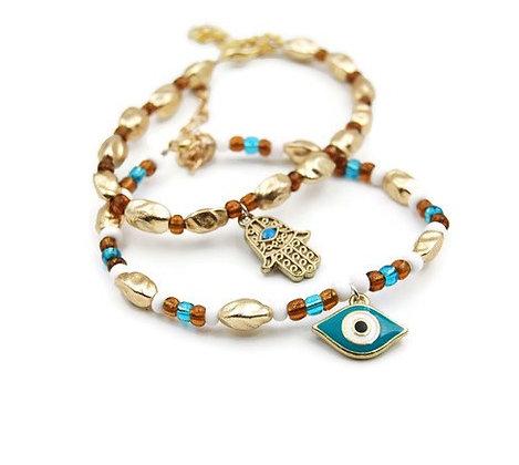 Hamsa and evil eye stacking bracelets