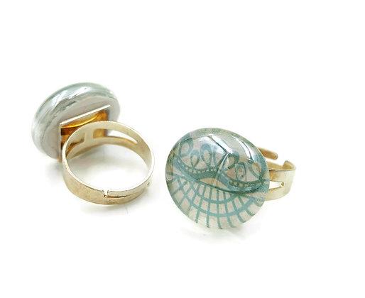 Aqua filigree adjustable ring