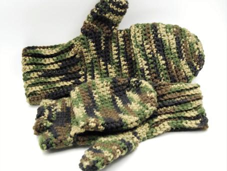 Crochet fingerless flip-top convertible gloves
