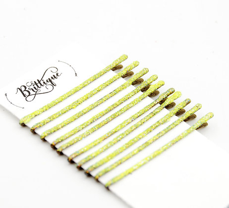 Yellow Glitter Bobby Pins