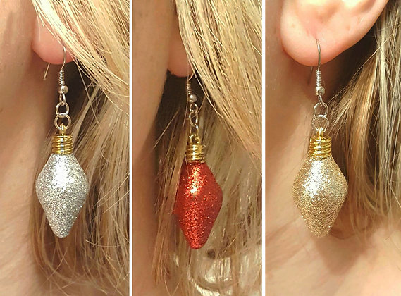 Christmas light earrings, Christmas drop earrings with glitter