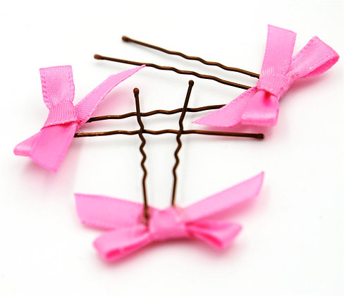 Satin ribbon bow hair pins, small hair bow