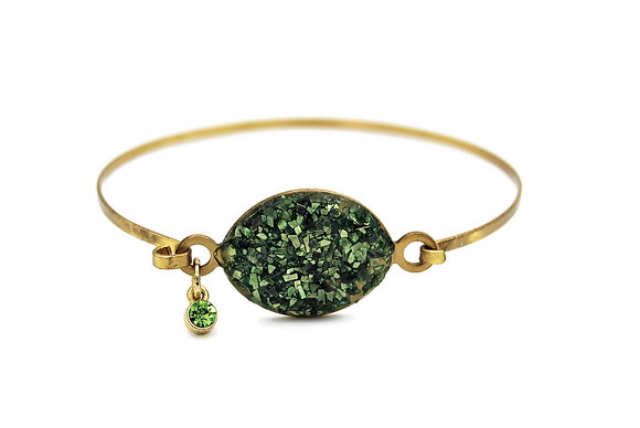 Green and Gold Druzy Statement Bracelet