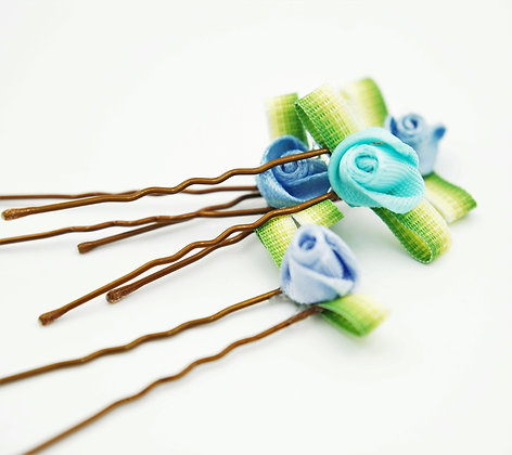 blue flower hair pins, blue floral hair pins