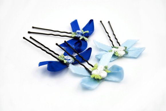 Blue ribbon hair bow with flowers, blue flower girl hair pin