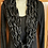 Thumbnail: Black gold and silver knit infinity scarf