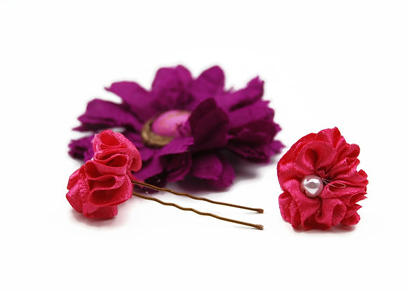 Pink and Purple Floral Hair Pin Set