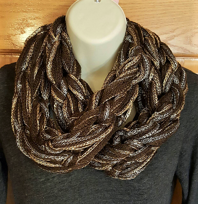 Brown, gold and silver knit infinity scarf